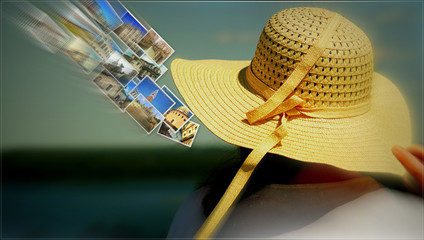 Summer background, woman with wearing hat . Female traveler and sky full photos . Traveling background with motion effect