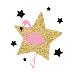 Pink flamingo with stars, vector illustration