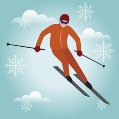 Isometric isolated vector man skiier. Urban style and hot tricks in park. Alpine skiing , winter sport. Olimpic games, recreation lifestyle, activity speed extreme