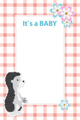 Baby shower card invitation with baby hedgehog. Background check