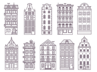 Traditional scandinavian and old europe house collection in thin line design. Traditional Amsterdam and Stockholm residential merchant homes, classic historic european townhouse buildings in lineart.