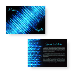 Festive Christmas invitation card with burning beams of blue neon light