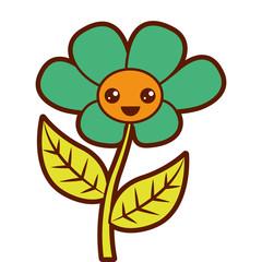 kawaii cute flower ornament cartoon vector illustration