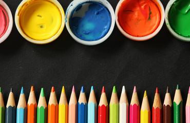 Set of color pencils and paints