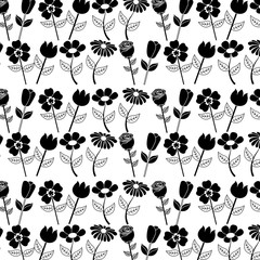floral pattern flower petal stem spring style vector illustration black image white background