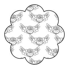 label floral pattern delicate seamless flower leaves vector illustration outline design