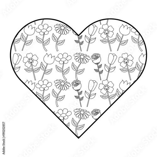 heart floral ornament flower petal stem spring style vector illustration outline image