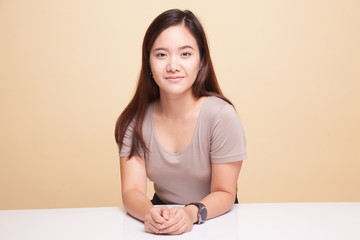 Beautiful young Asian woman smile