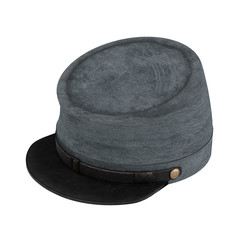 Civil War Confederate Cavalry Hat. American Confederate Kepi. Perspective view. 3D render Illustration isolated on a white background.