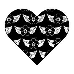 heart floral ornament pattern delicate seamless flower leaves vector illustration dark background