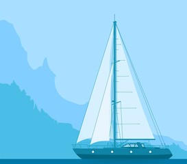 Sailing blue yacht in the sea near rocky coast. Landscape with luxury yacht on huge mountain background. Vector illustration.