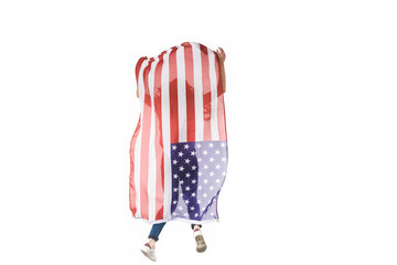 back view of girl jumping with american flag isolated on white