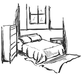Bedroom interior sketch. Hand drawn furniture.