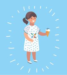 Little girl eating chocolate ice-cream illustration