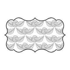 vintage label with pattern delicate seamless flower leaves vector illustration outline image