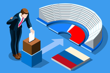Russia election voting concept Russian man putting vote in the isometric ballot box. Vector illustration with 3D flat isometric realistic detailed people