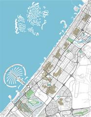 Colorful Dubai vector city map