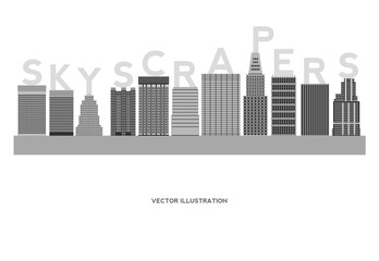 Skyscrapers Simple Cartoon Picture for Design