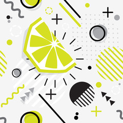 Trendy seamless, Memphis style  lime geometric pattern, vector