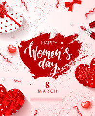 8 March - Happy Women s Day Festive Card. Beautiful Background with gift boxes in heart shape, bow, lipstick and serpentine. Vector Illustration