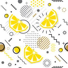 Trendy seamless, Memphis style lemon geometric pattern, vector