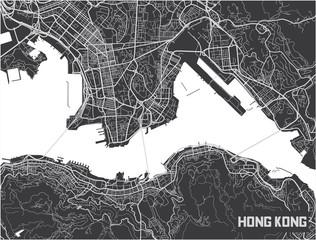 Minimalistic Hong Kong city map poster design.