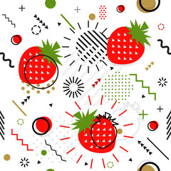 Trendy seamless, Memphis style strawberry geometric pattern, vector