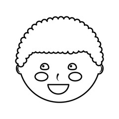 happy cute boy face young character vector illustration outline design