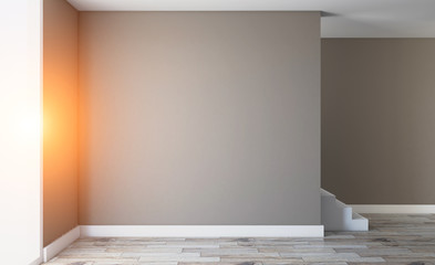 Blank room. 3D rendering. Sunset