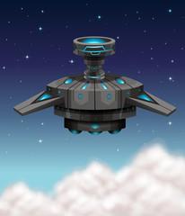 Black spaceship flying at night