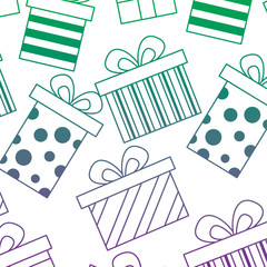 seamless pattern decoration celebration gift boxes vector illustration color line gradient