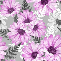 Floral seamless pattern 15. Watercolor flowers.