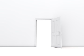 Open door in a white room. 3D Rendering