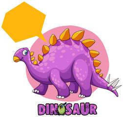 Purple stegosaurus on white background