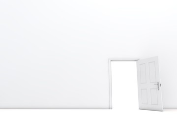 Open door in a white room. 3D Rendering