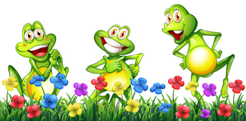 Three happy frogs in flower garden