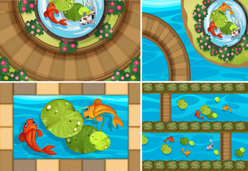 Four scenes with fish in the ponds