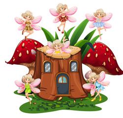 Six fairies flying around log home in garden
