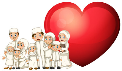 Muslim family in white costume and red heart
