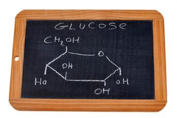 Formule chimique du glucose écrite sur une ardoise