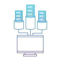 monitor computer database storage technology vector illustration blue and purple line design