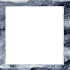 Square watercolor frame Abstract blue starry sky.. Texture background for design.