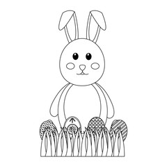 beauty bunny easter decorated eggs field celebration vector illustration