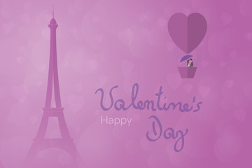 Valentine's day. Background with hearts and couple in hot-air balloon. Text: Happy Valentine's Day.