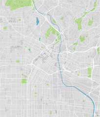 Vector city map of Los Angeles with well organized separated layers.