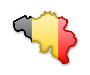 Belgium flag and outline of the country on a white background.