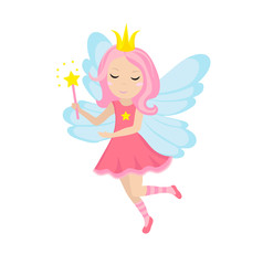 Cute little fairy icon, cartoon style. Isolated on white background. Vector illustration