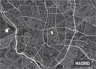 Minimalistic Madrid city map poster design.