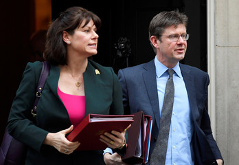 Britain's Minister of State for Energy and Clean Growth Claire Perry and Secretary of State for Business Greg Clark leave 10 Downing Street in London