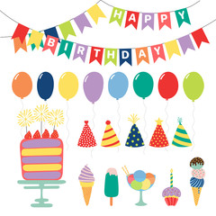 Collection of hand drawn birthday party design elements with cake, balloons, hats, bunting, ice cream, typography. Isolated objects on white background. Vector illustration. Design concept for kids.